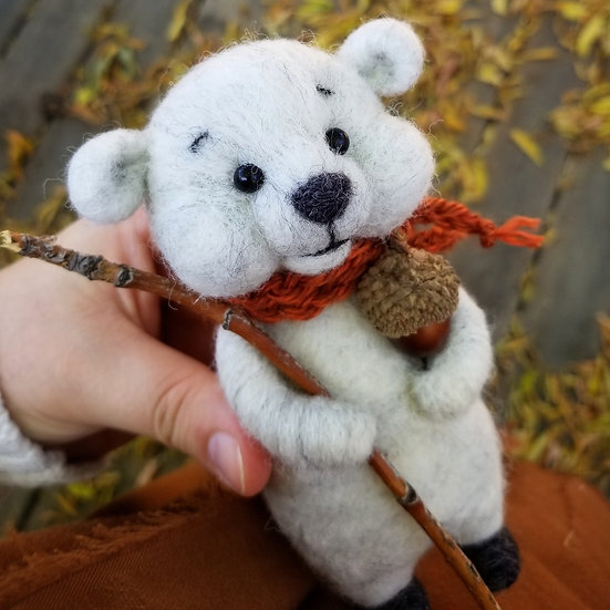 Heather Grey Bare Bear with Walking Stick
