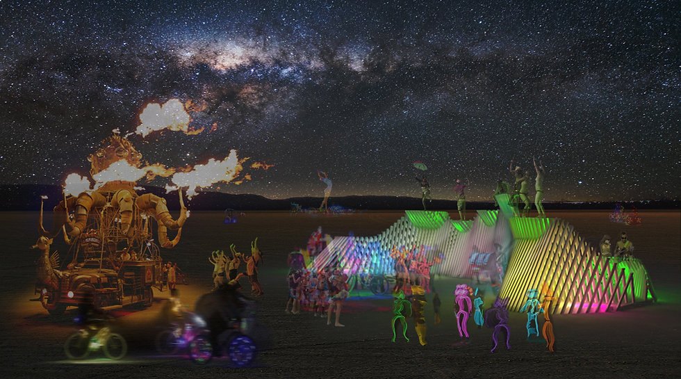 A mutant vehicle's base beat is felt in the distance and slowly pink, teal, purple, and yellow lights begin to respond. The lights intensify as the base nears, inviting passers-by to join in a celebration of light and sound. This beacon radiates across the playa calling into the distance.