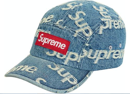 Supreme Frayed Logos Denim Camp Cap Blue