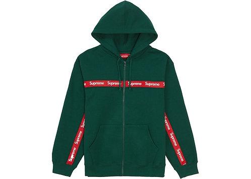 Supreme Text Stripe Zip Up Hooded Sweatshirt