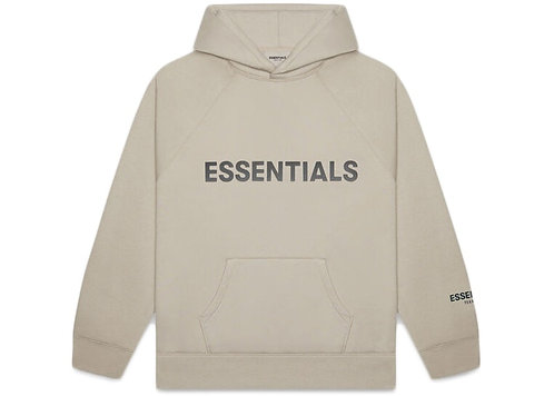 FEAR OF GOD ESSENTIALS 3D Silicon Applique Pullover Hoodie Olive/Khaki