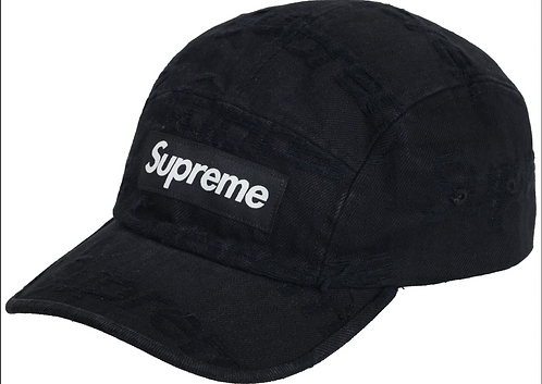 Supreme Frayed Logos Denim Camp Cap Black