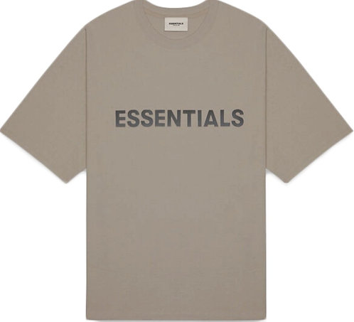 FEAR OF GOD ESSENTIALS Boxy T-Shirt Applique Logo Taupe