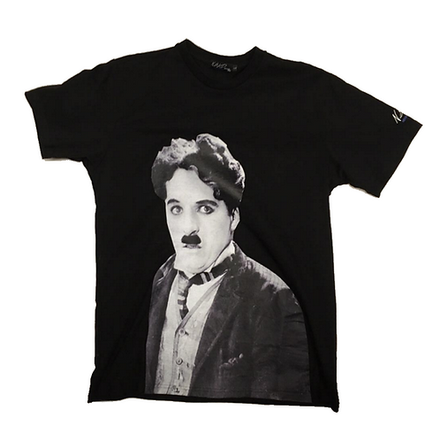 Chaplin figure print T-shirt BLACK
