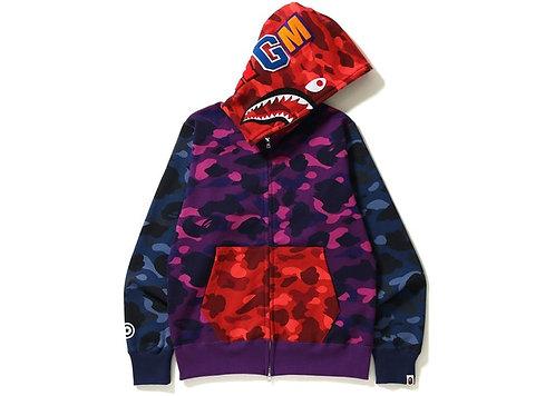 BAPE Color Camo Crazy Shark Full Zip Hoodie