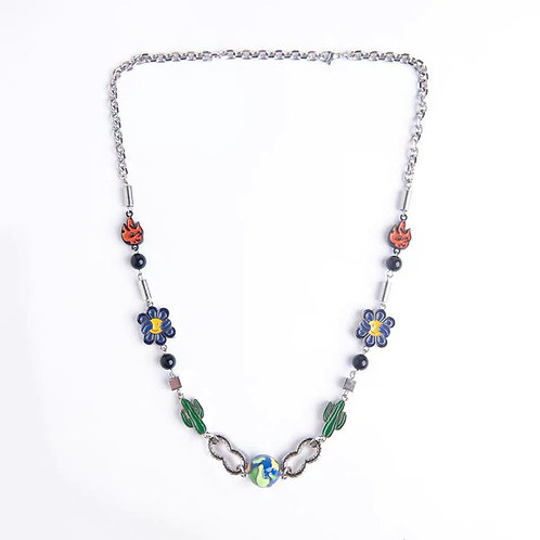 Salute + Evae Cactus Flower Flame Necklace