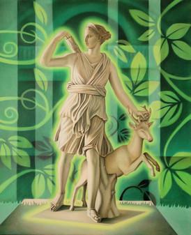 Artemis and Deer in Greenery