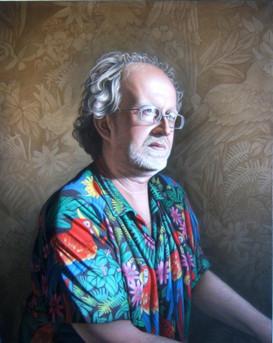Philou wearing a Hawaiian Shirt