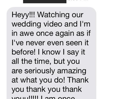Amazing text message from one of our brides!