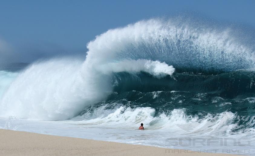 surfing margaret river shore break.