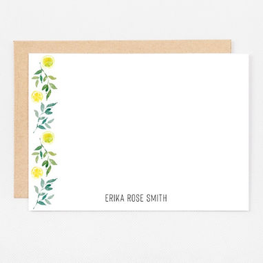 Personalized Stationery Notecards | Lemon Border Set