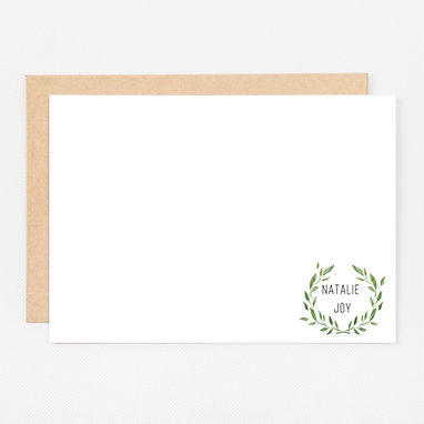 Personalized Stationery Notecards   Wreath Set