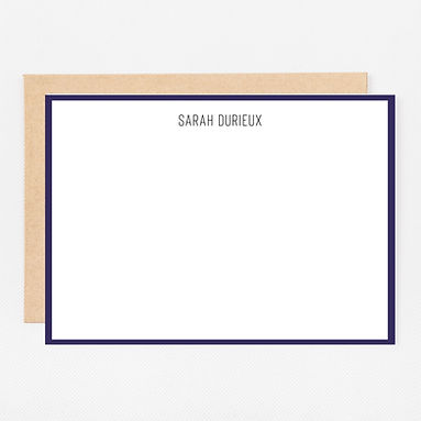 Personalized Stationery Notecards | Navy Trim Set