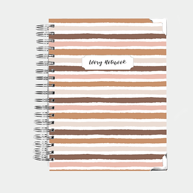 Personalized Notebook | Bullet or Lined | Nude Stripes