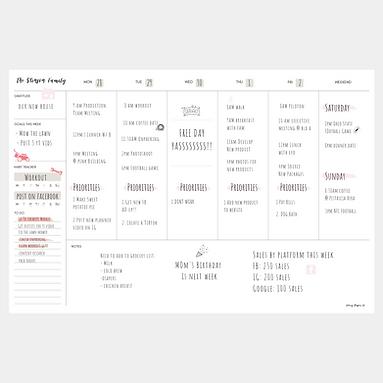 Large Deskpad Weekly Calendar (52 weeks)