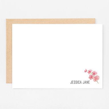 Personalized Stationery Notecards | Blushing Foliage on White Set