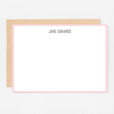Personalized Stationery Notecards | Pink Trim Set