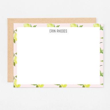 Personalized Stationery Notecards | Pink Lemons Set