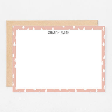 Personalized Stationery Notecards   Pink Drops Set