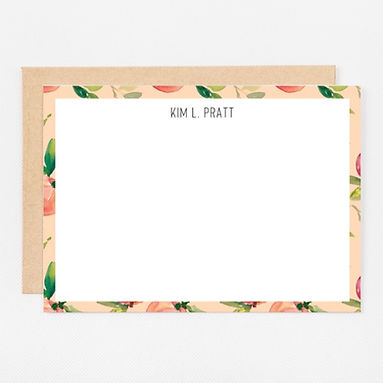 Personalized Stationery Notecards | Coral Peach Set