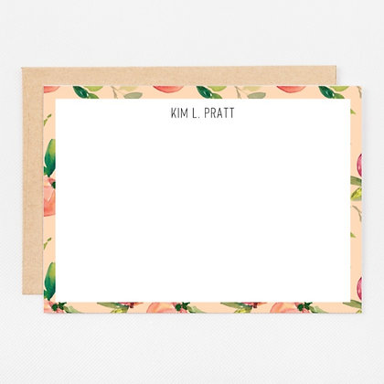 Personalized Stationery Notecards   Coral Peach Set