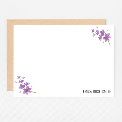 Personalized Stationery Notecards | Lovely Lavender on White Set