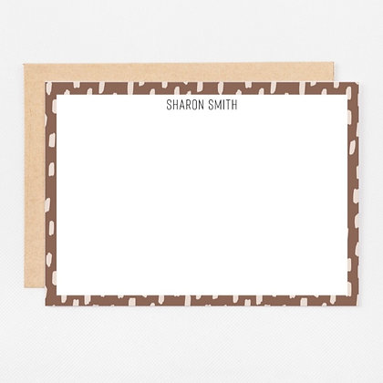 Personalized Stationery Notecards | Brown Brush Strokes Set