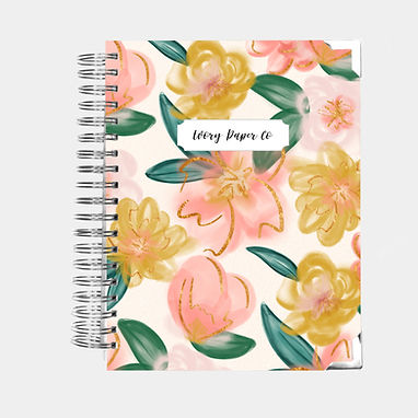 Budget Planner - 12 Months  - Peach Watercolor Floral