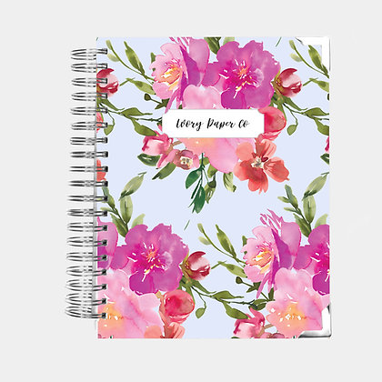 Budget Planner - 12 Months  - Blue Watercolor Floral