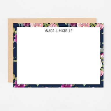 Personalized Stationery Notecards | Navy Watercolor Set