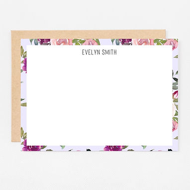 Personalized Stationery Notecards   Lavender Watercolor Set