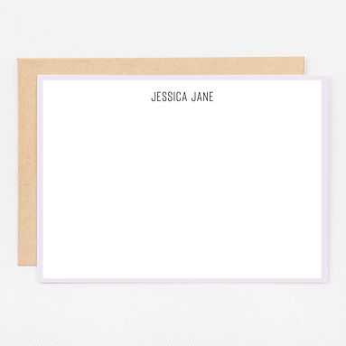 Personalized Stationery Notecards   Lavender Trim Set
