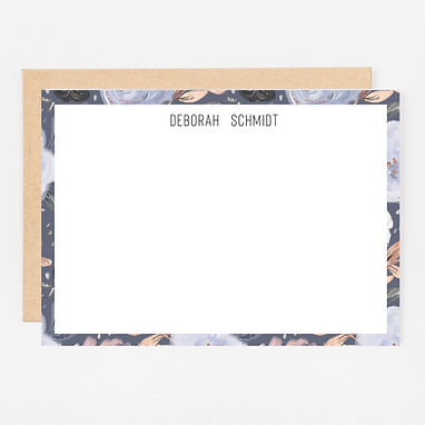 Personalized Stationery Notecards | Navy Floral Set