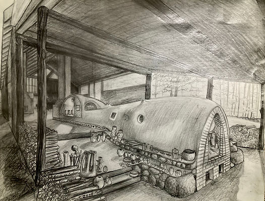 Hand drawn rendering of the future NHPG kiln