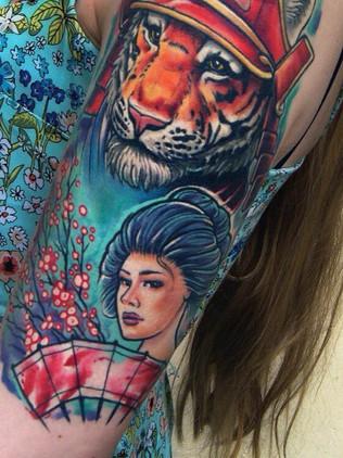 tiger samurai and geisha - newschool tattoo - black house tattoo