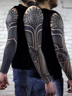 ornamental tattoo - sleeve with mandala - black house tattoo prague