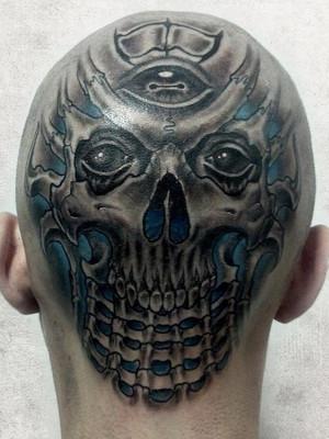 Biomechanical tattoo Prague, Black House Tattoo, head
