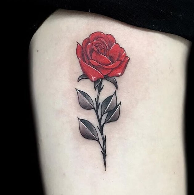 red rose - neo-traditional - black house tattoo