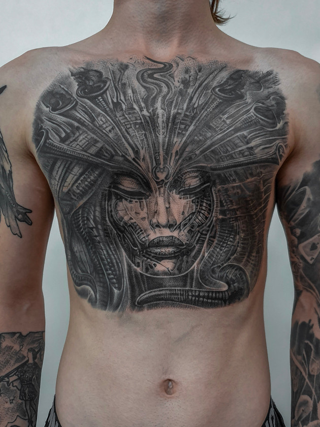 Biomechanical Tattoos Prague, Black House Tattoo, Tits, Giger
