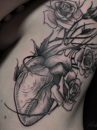 Hearts and Roses - Linework Black House Tattoo Tattoos