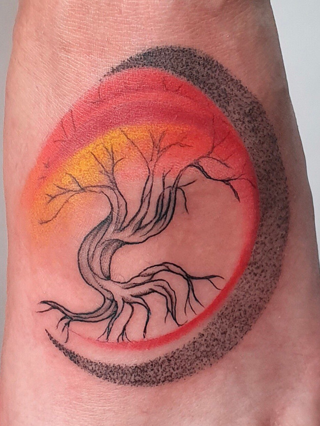 abstract tree - watercolor tattoo - watercolor tattoo - black house tattoo prague