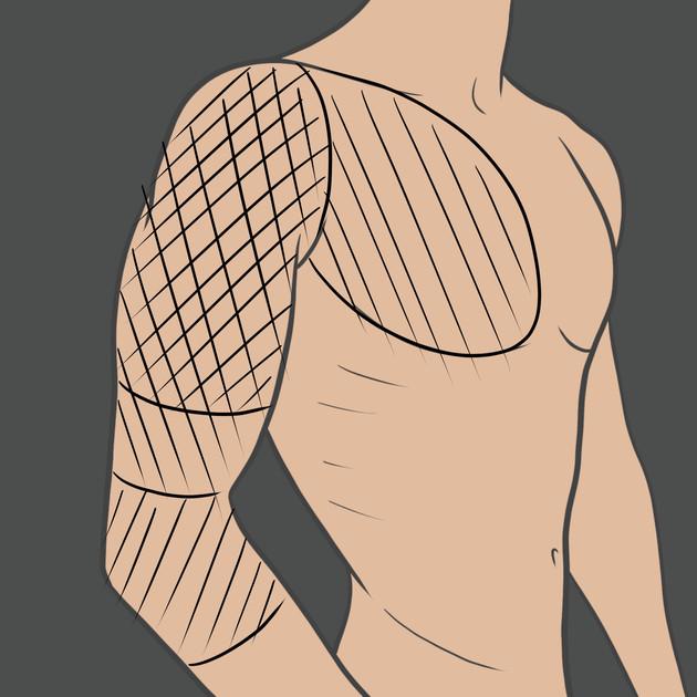 Tetovaní na celou paží (polorukáv)