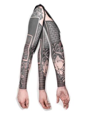 ornamental tattoo - sleeve with Japanese mask - black house tattoo prague