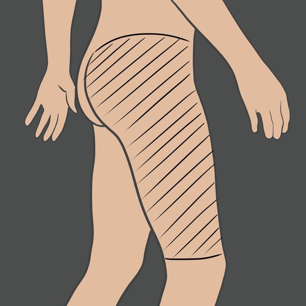 Tetování na boční stranu stehna