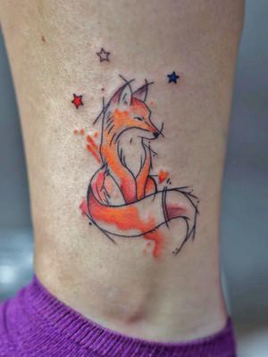 liska nart - aquarelle tatouages - aquarelle tatouages - black house tattoo prague