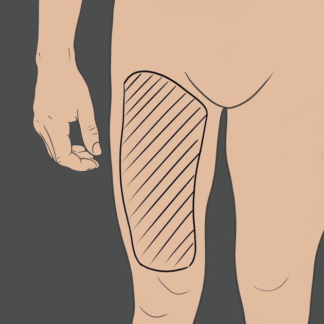 Tetování na přední stranu stehna