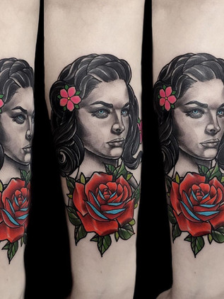 portrait of woman on forearm tattoo - neo-traditional - black house tattoo