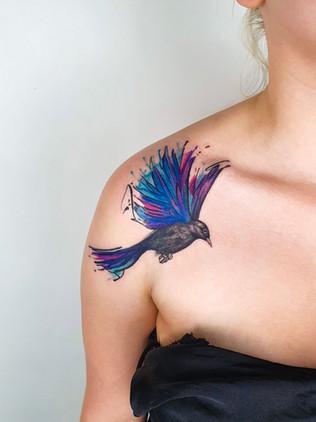blue bird - watercolor tattoo - watercolor tattoo - black house tattoo prague