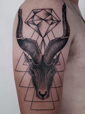 Geometric Tattoos - Black House Tattoo Prague - for women - for men - for hand - for shoulder - capricorn