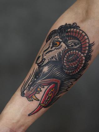 loup en manteau de peau de mouton - oldschool tattoo - black house tattoo prague